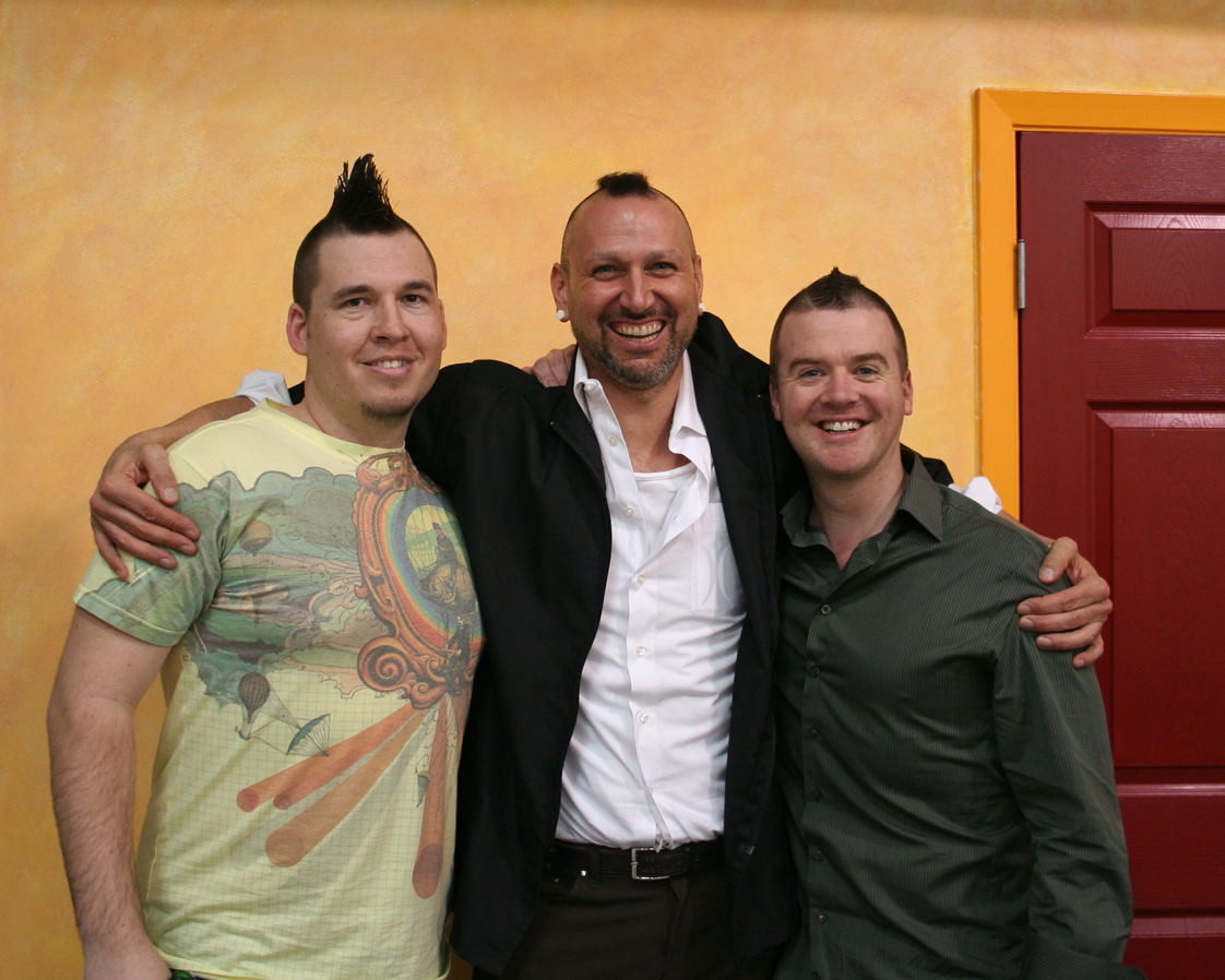 Mohawk Matt With Perspective's Nicholas Leebert (Designer) & Simon Thorneycroft (Co-Founder and Chief Creative).  Mohawks courtesy of Bolt Barbers™